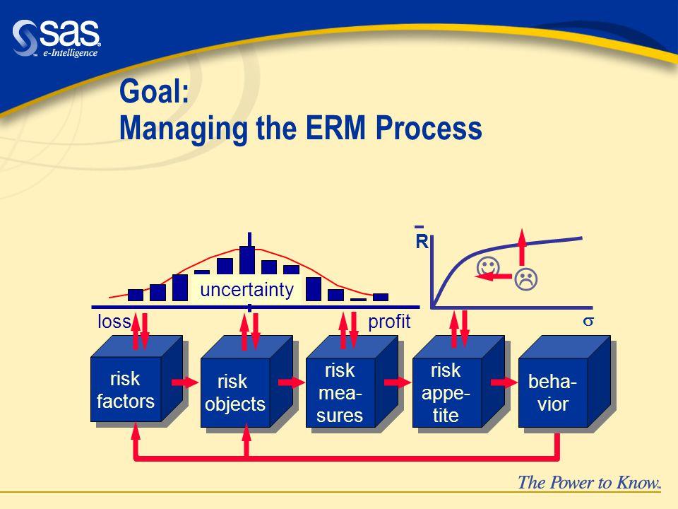 Goal: Managing the ERM Process risk factors risk factors risk objects risk objects risk mea- sures risk mea- sures risk appe- tite risk appe- tite lossprofit uncertainty beha- vior beha- vior  R 
