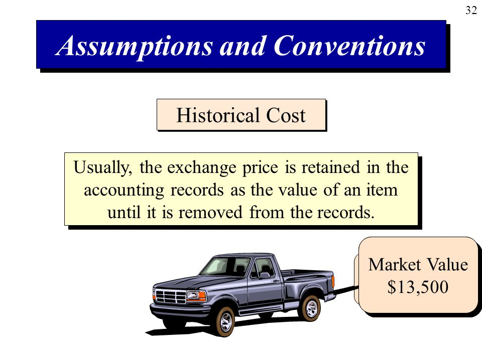 32 Assumptions and Conventions Historical Cost Usually, the exchange price is retained in the accounting records as the value of an item until it is removed from the records.