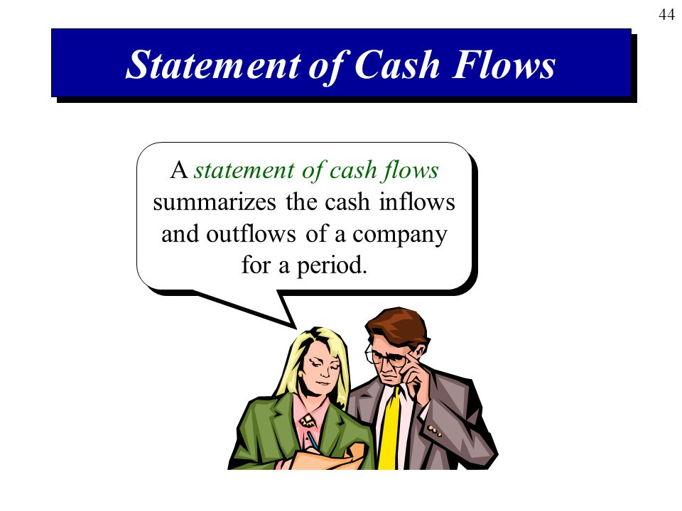 44 Statement of Cash Flows A statement of cash flows summarizes the cash inflows and outflows of a company for a period.