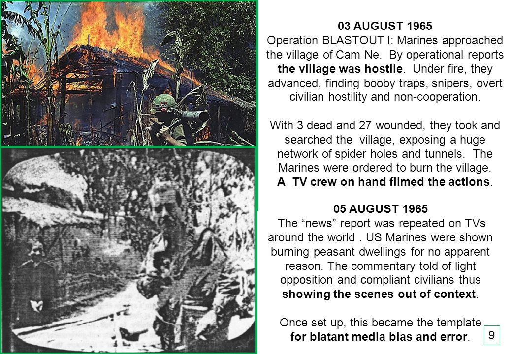 THIS SLIDE AND PRESENTATION WAS PREPARED BY DAVE SABBEN WHO RETAINS COPYRIGHT © ON CREATIVE CONTENT 9 03 AUGUST 1965 Operation BLASTOUT I: Marines approached the village of Cam Ne.