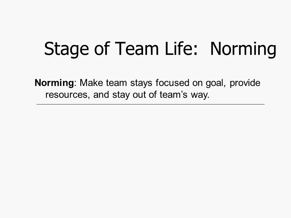 Stage of Team Life: Norming Norming: Make team stays focused on goal, provide resources, and stay out of team's way.