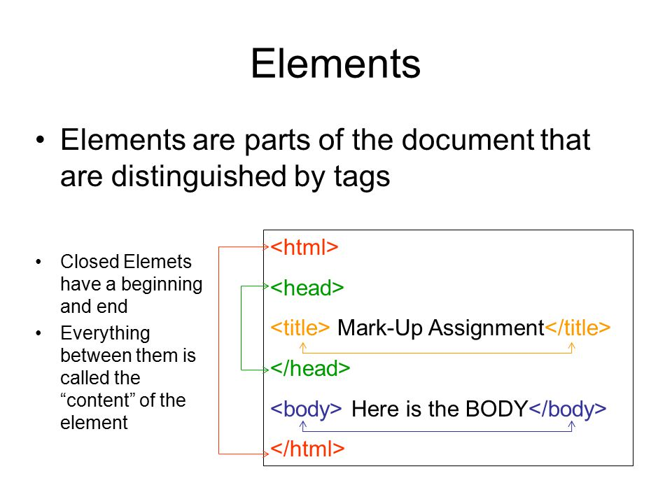 Elements Web Pages are made up of elements – or distinct parts –The Head Can hold lots of non- display information The Title is NOT displayed on the page, the title appears at the top of the window, in the colored bar