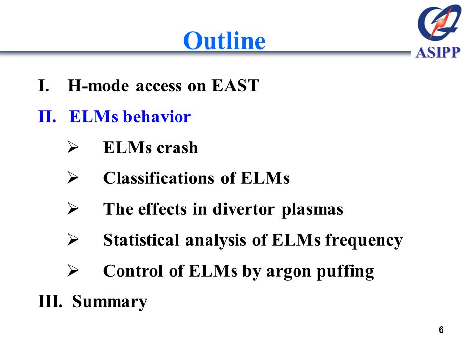 ASIPP Outline I.H-mode access on EAST II. ELMs behavior  ELMs crash  Classifications of ELMs  The effects in divertor plasmas  Statistical analysi
