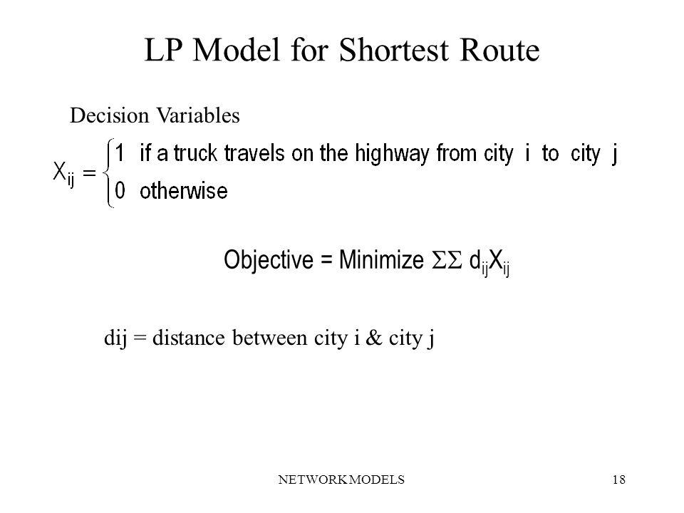 NETWORK MODELS18 LP Model for Shortest Route Objective = Minimize  d ij X ij Decision Variables dij = distance between city i & city j
