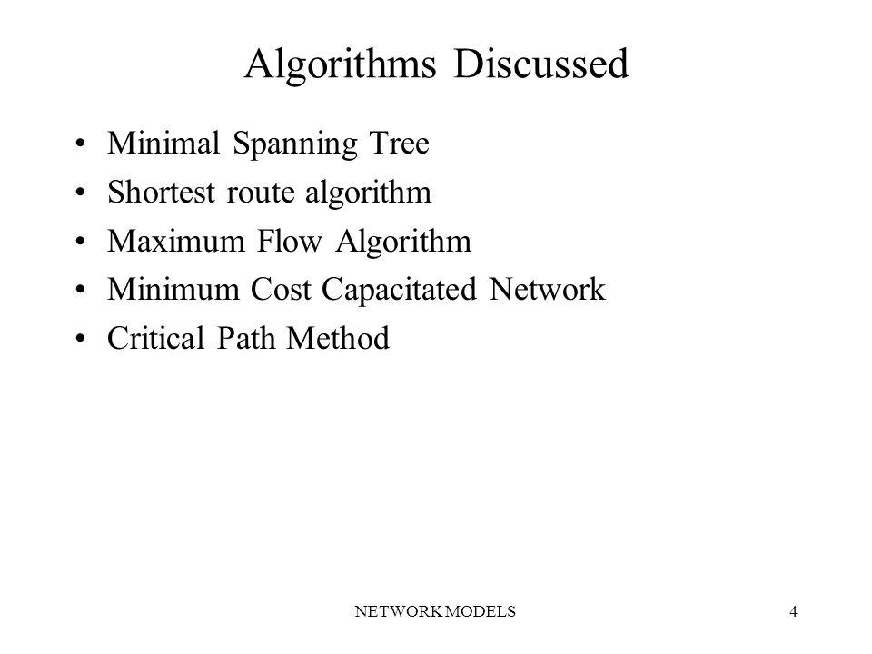NETWORK MODELS4 Algorithms Discussed Minimal Spanning Tree Shortest route algorithm Maximum Flow Algorithm Minimum Cost Capacitated Network Critical Path Method