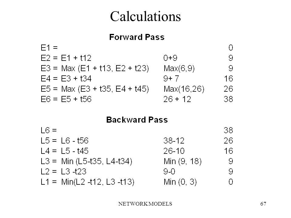 NETWORK MODELS67 Calculations