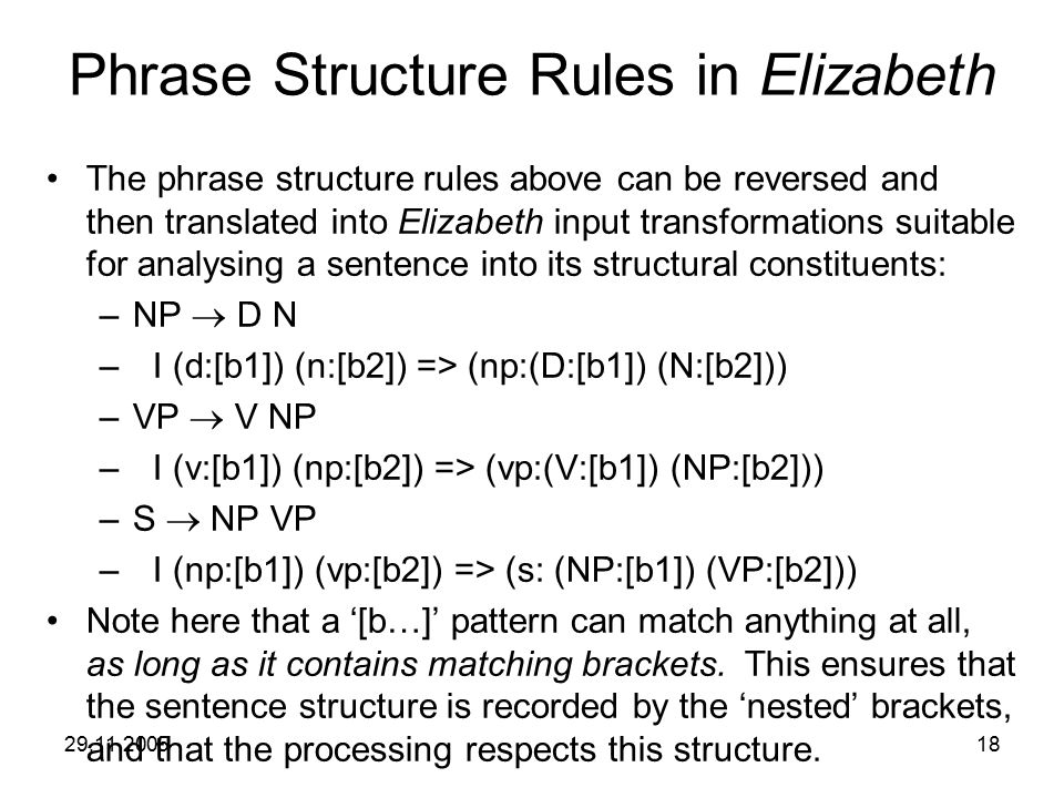 29.11.200518 Phrase Structure Rules in Elizabeth The phrase structure rules above can be reversed and then translated into Elizabeth input transformat