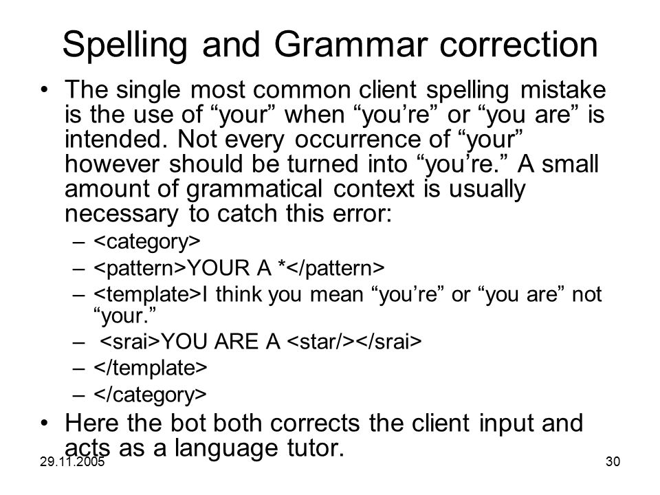 "29.11.200530 Spelling and Grammar correction The single most common client spelling mistake is the use of ""your"" when ""you're"" or ""you are"" is intende"