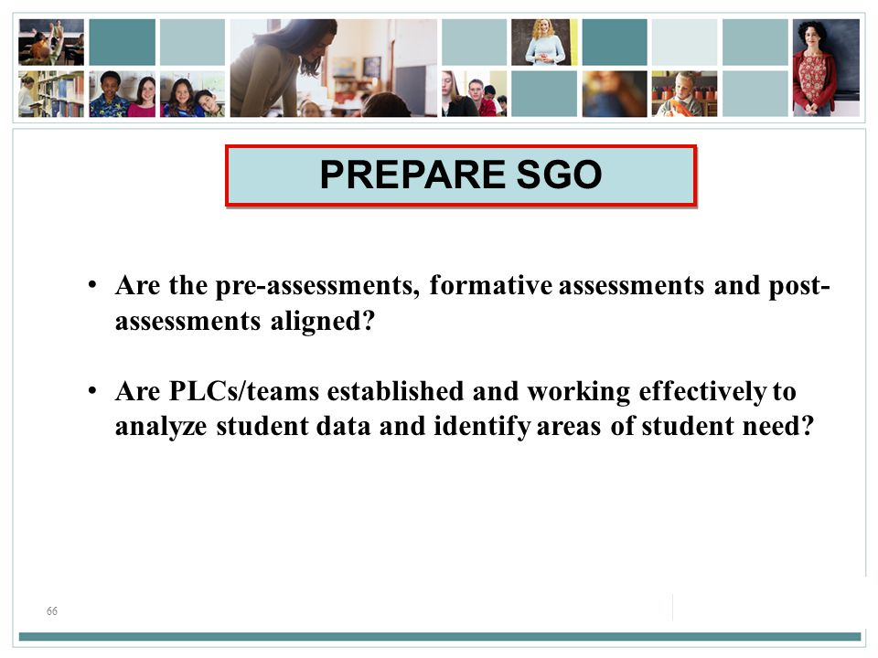66 Are the pre-assessments, formative assessments and post- assessments aligned.