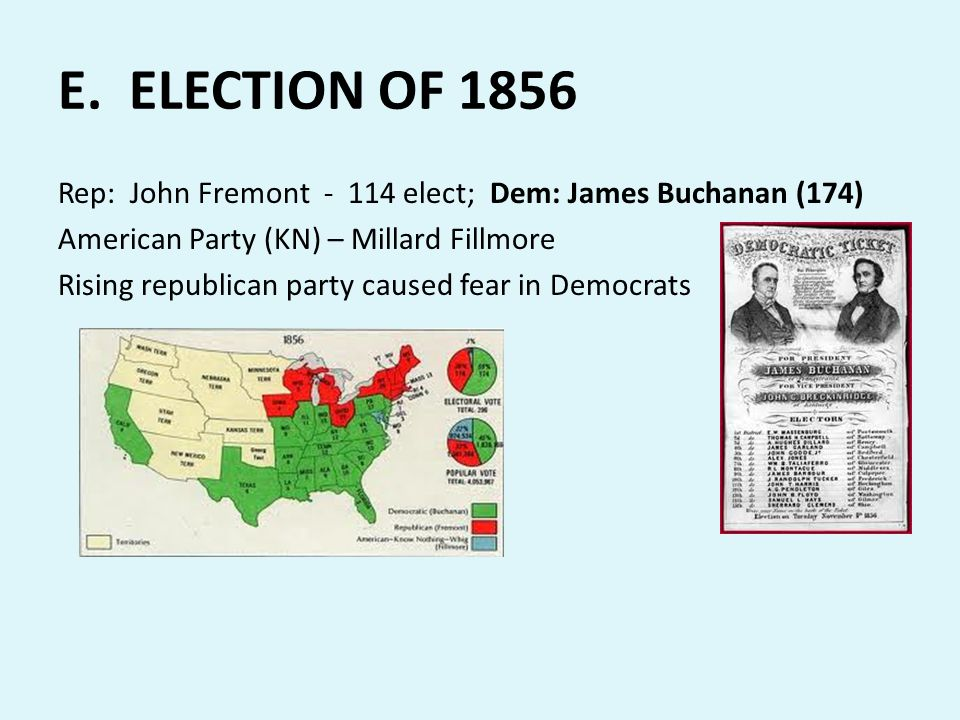 E. ELECTION OF 1856 Rep: John Fremont - 114 elect; Dem: James Buchanan (174) American Party (KN) – Millard Fillmore Rising republican party caused fea