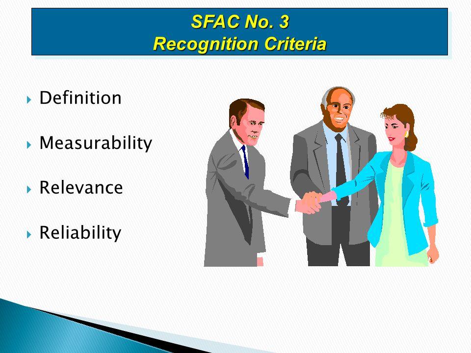  Definition  Measurability  Relevance  Reliability SFAC No. 3 Recognition Criteria