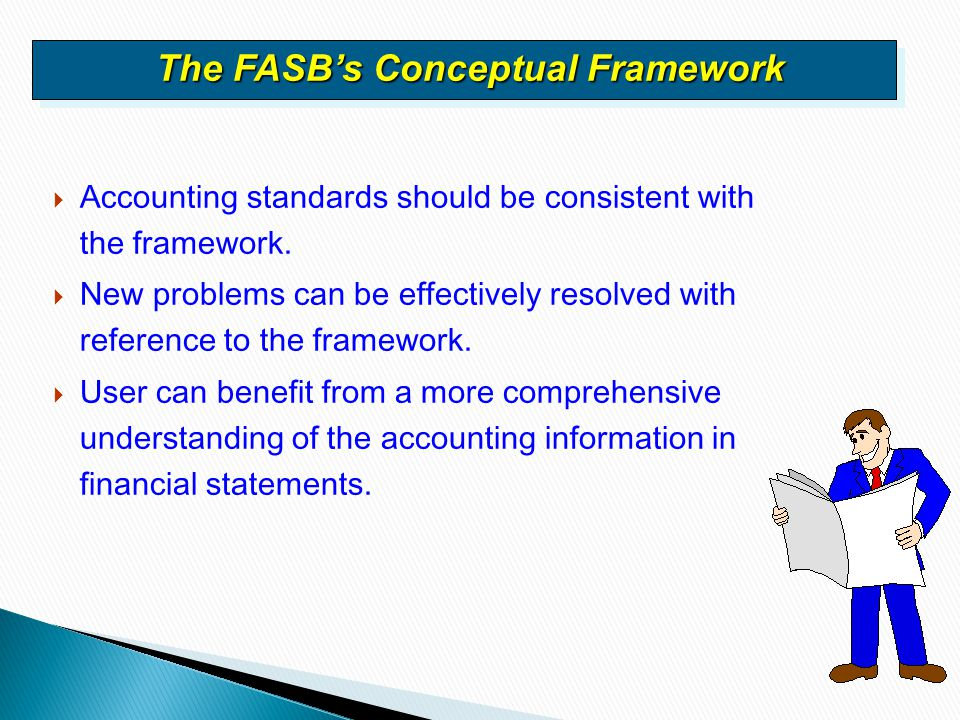  Accounting standards should be consistent with the framework.  New problems can be effectively resolved with reference to the framework.  User can