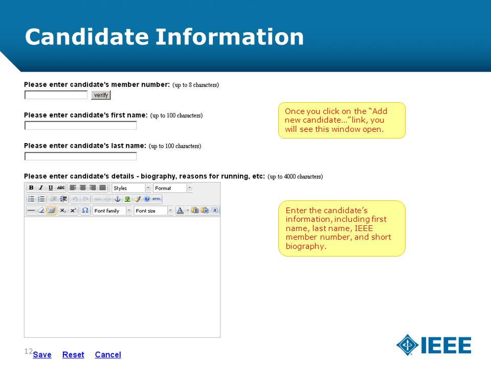 12-CRS-0106 REVISED 8 FEB 2013 Candidate Information Once you click on the Add new candidate… link, you will see this window open.