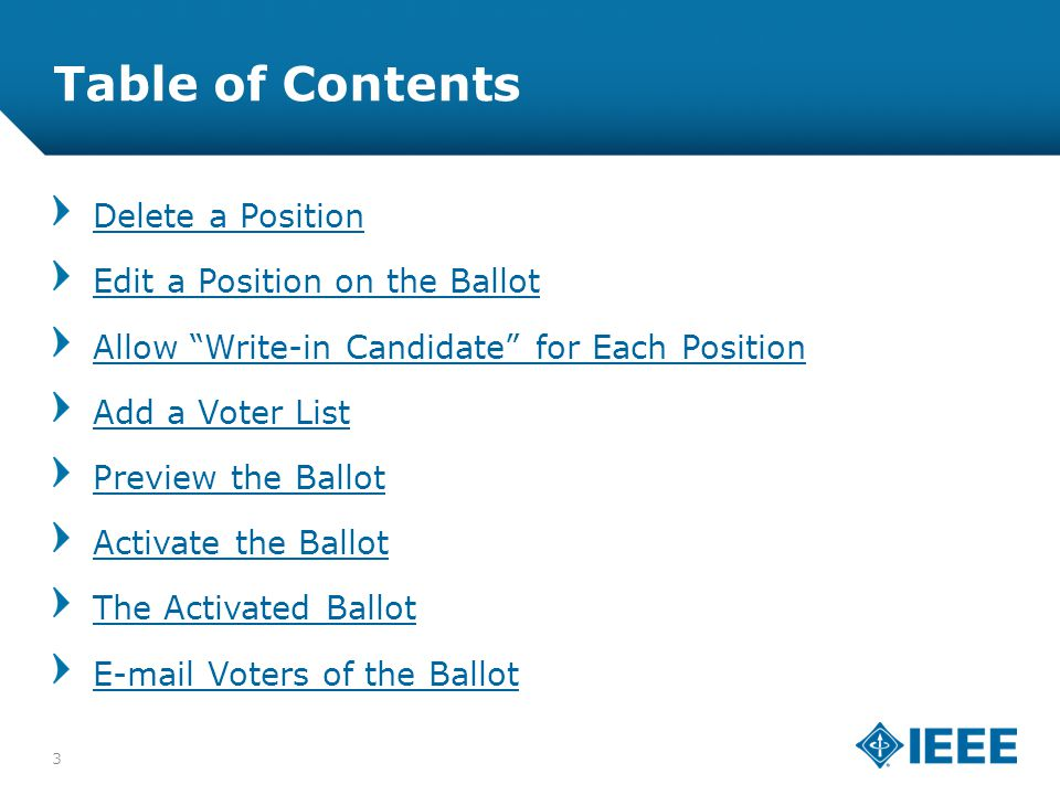 12-CRS-0106 REVISED 8 FEB 2013 Table of Contents Delete a Position Edit a Position on the Ballot Allow Write-in Candidate for Each Position Add a Voter List Preview the Ballot Activate the Ballot The Activated Ballot E-mail Voters of the Ballot 3