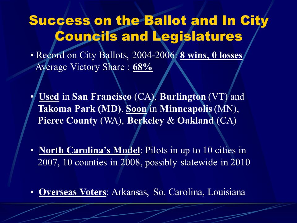 What Is Instant Runoff Voting  A ranked choice ballot: Voters rank 1, 2, 3  Requires a majority to elect a candidate (typically)  Eliminate weak candidates.