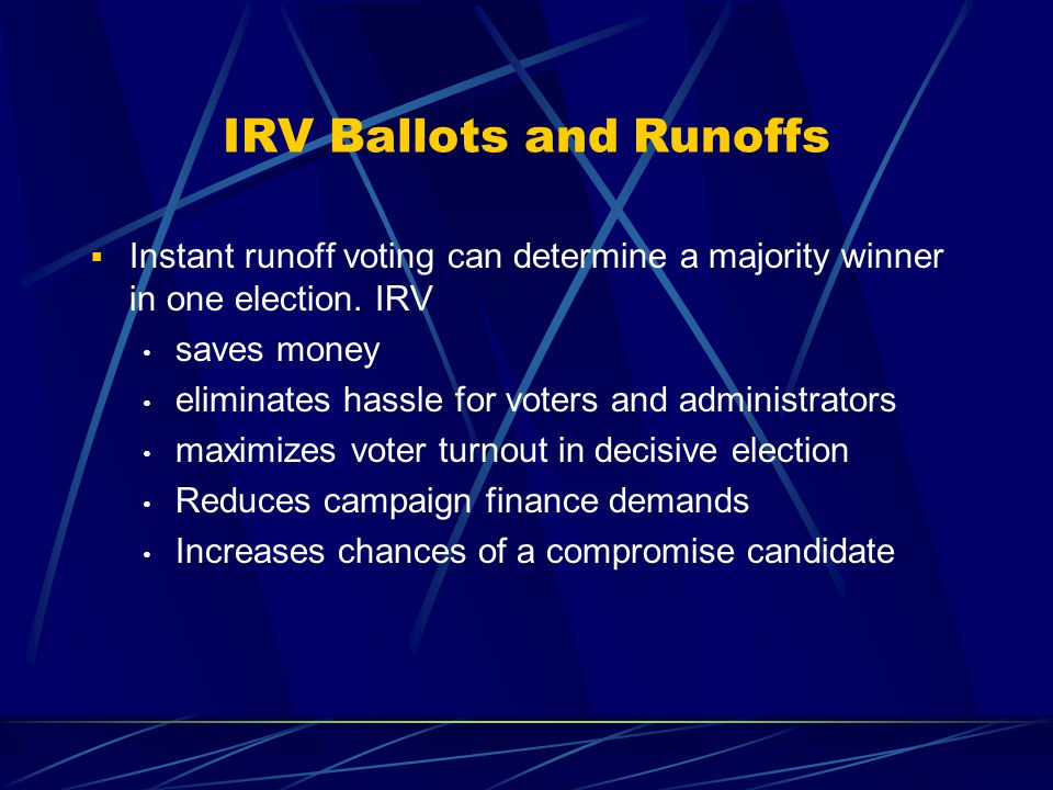 IRV Ballots and Military Voters  Tested solution to protect overseas voters in runoffs in Louisiana, Arkansas, South Carolina  Addresses problem of short turnaround time between first round and second round.