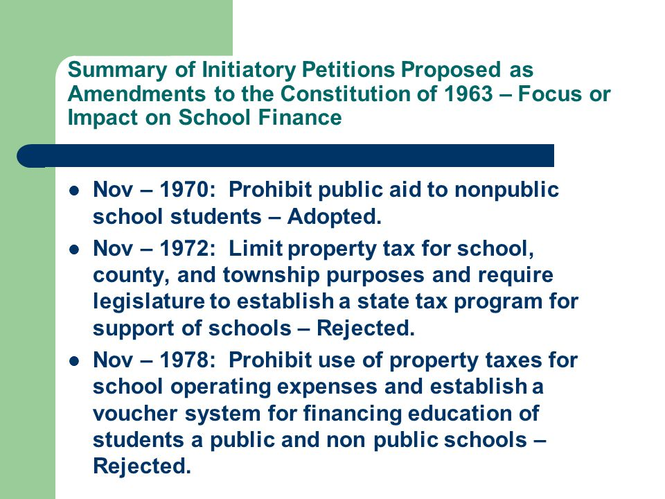Summary of Initiatory Petitions Proposed as Amendments to the Constitution of 1963 – Focus or Impact on School Finance Nov – 1970: Prohibit public aid to nonpublic school students – Adopted.