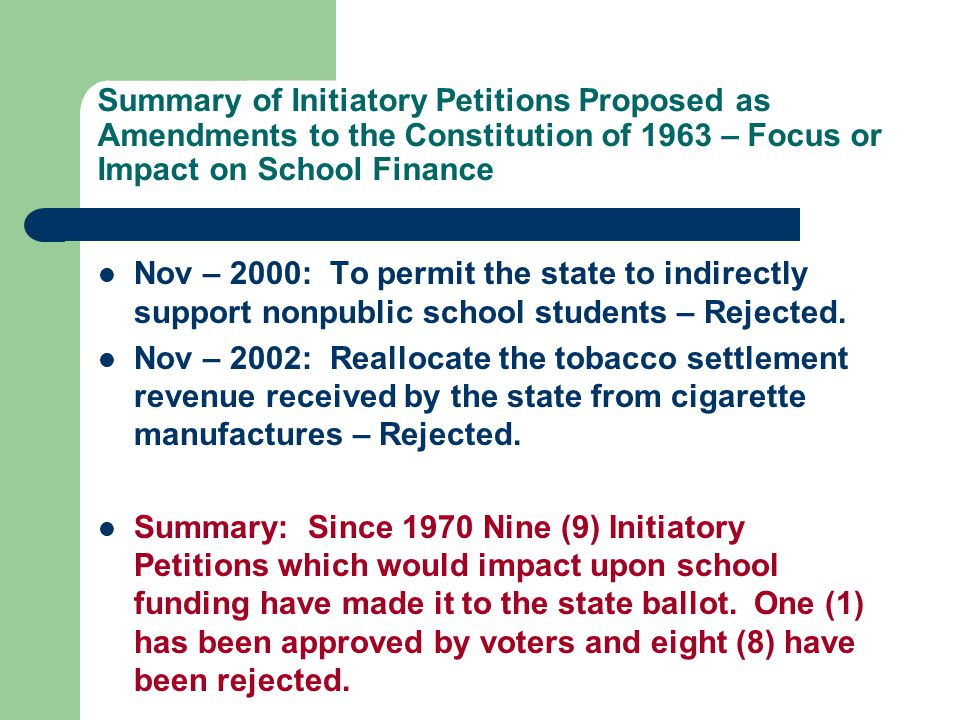 Summary of Initiatory Petitions Proposed as Amendments to the Constitution of 1963 – Focus or Impact on School Finance Nov – 2000: To permit the state to indirectly support nonpublic school students – Rejected.