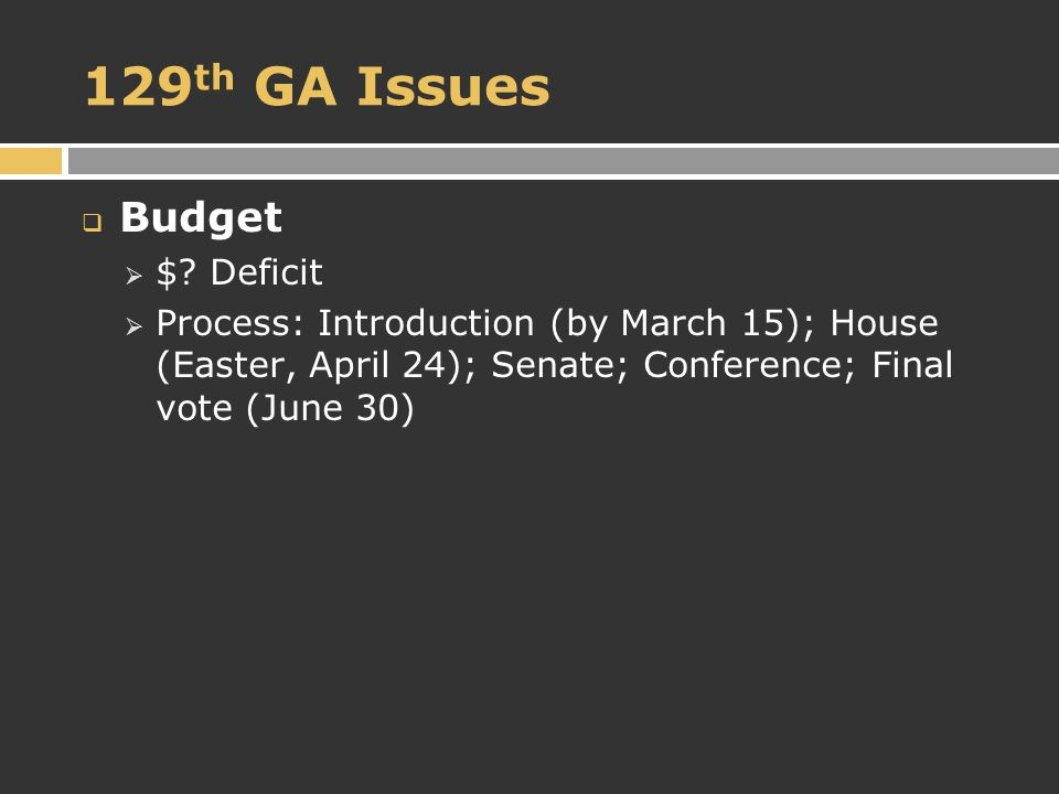 129 th GA Issues  Budget  $.