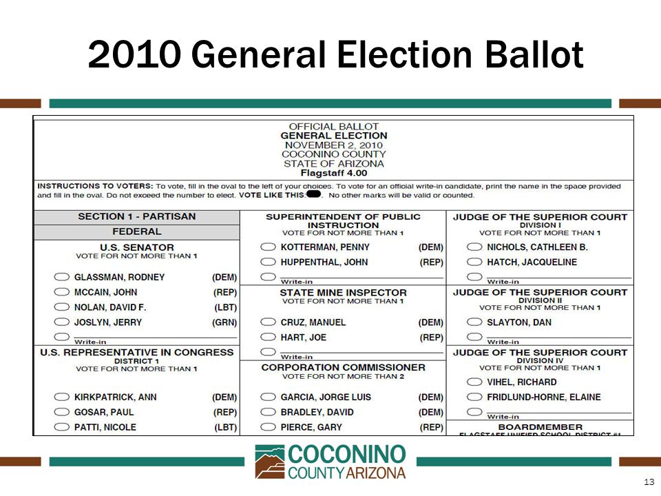 13 2010 General Election Ballot