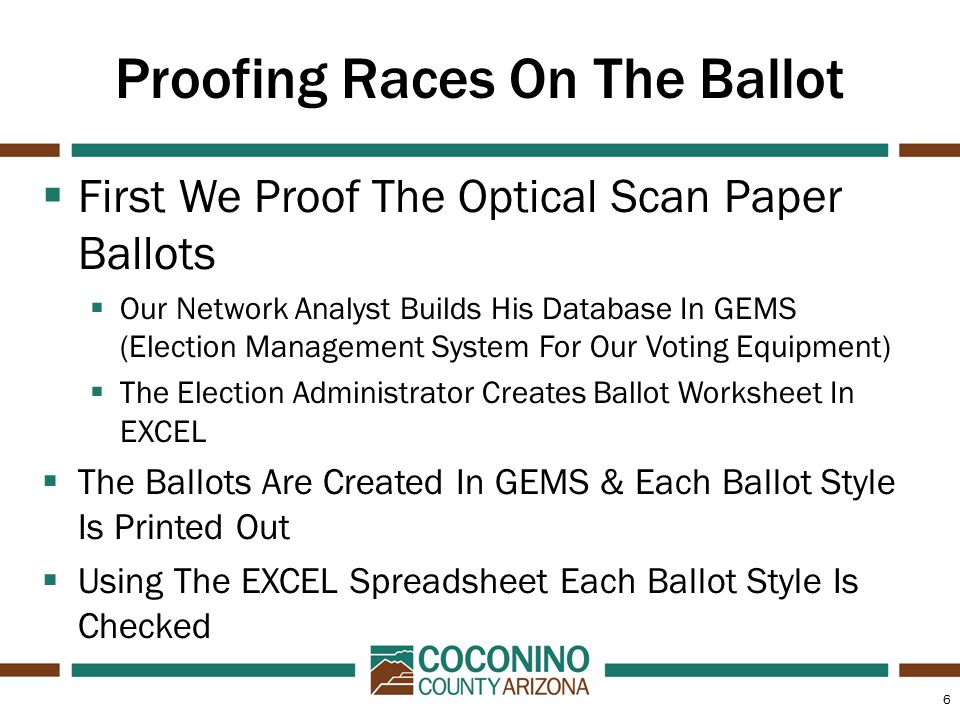 6 Proofing Races On The Ballot  First We Proof The Optical Scan Paper Ballots  Our Network Analyst Builds His Database In GEMS (Election Management System For Our Voting Equipment)  The Election Administrator Creates Ballot Worksheet In EXCEL  The Ballots Are Created In GEMS & Each Ballot Style Is Printed Out  Using The EXCEL Spreadsheet Each Ballot Style Is Checked