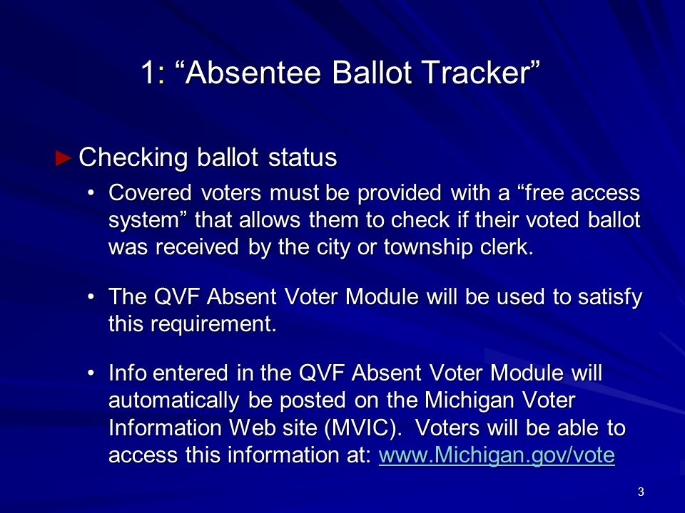 3 1: Absentee Ballot Tracker ► Checking ballot status Covered voters must be provided with a free access system that allows them to check if their voted ballot was received by the city or township clerk.Covered voters must be provided with a free access system that allows them to check if their voted ballot was received by the city or township clerk.