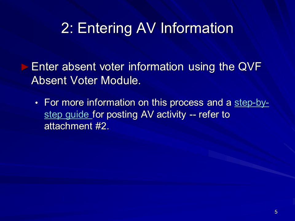 5 2: Entering AV Information ► Enter absent voter information using the QVF Absent Voter Module.