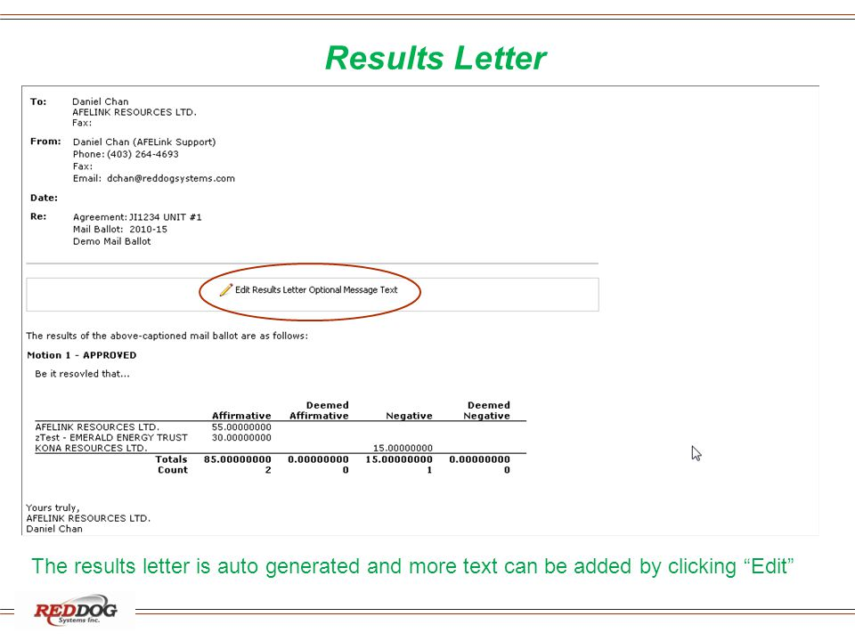 "Results Letter The results letter is auto generated and more text can be added by clicking ""Edit"""