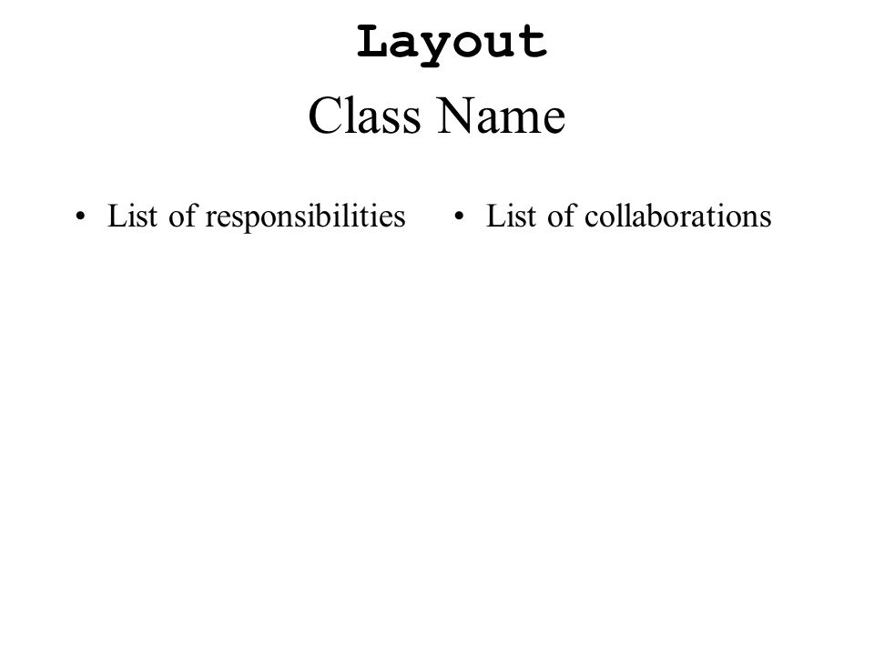 Class Name List of responsibilitiesList of collaborations Layout