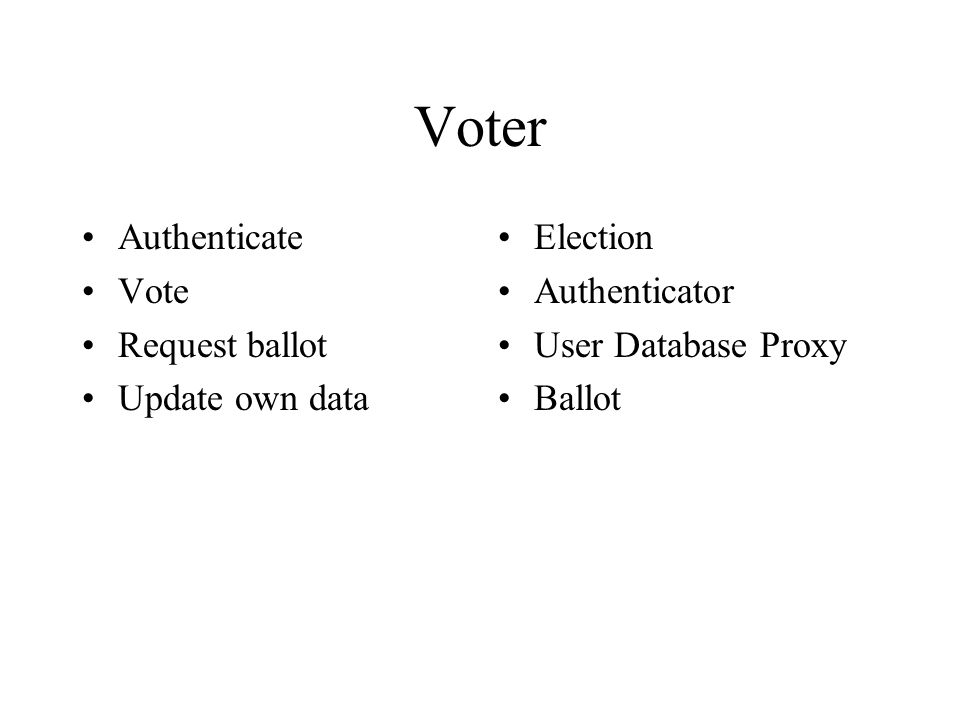 Voter Authenticate Vote Request ballot Update own data Election Authenticator User Database Proxy Ballot
