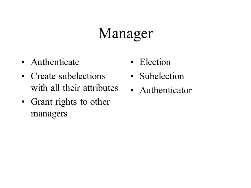 Manager Authenticate Create subelections with all their attributes Grant rights to other managers Election Subelection Authenticator