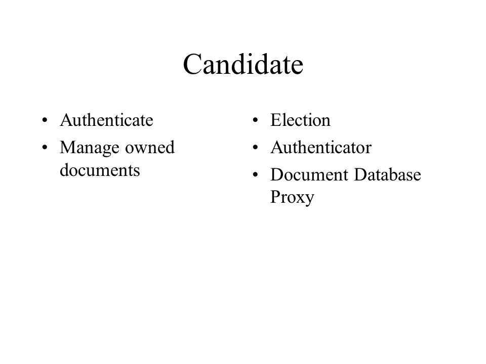 Authenticator Authenticate usersUser Database Proxy Voter Manager Candidate