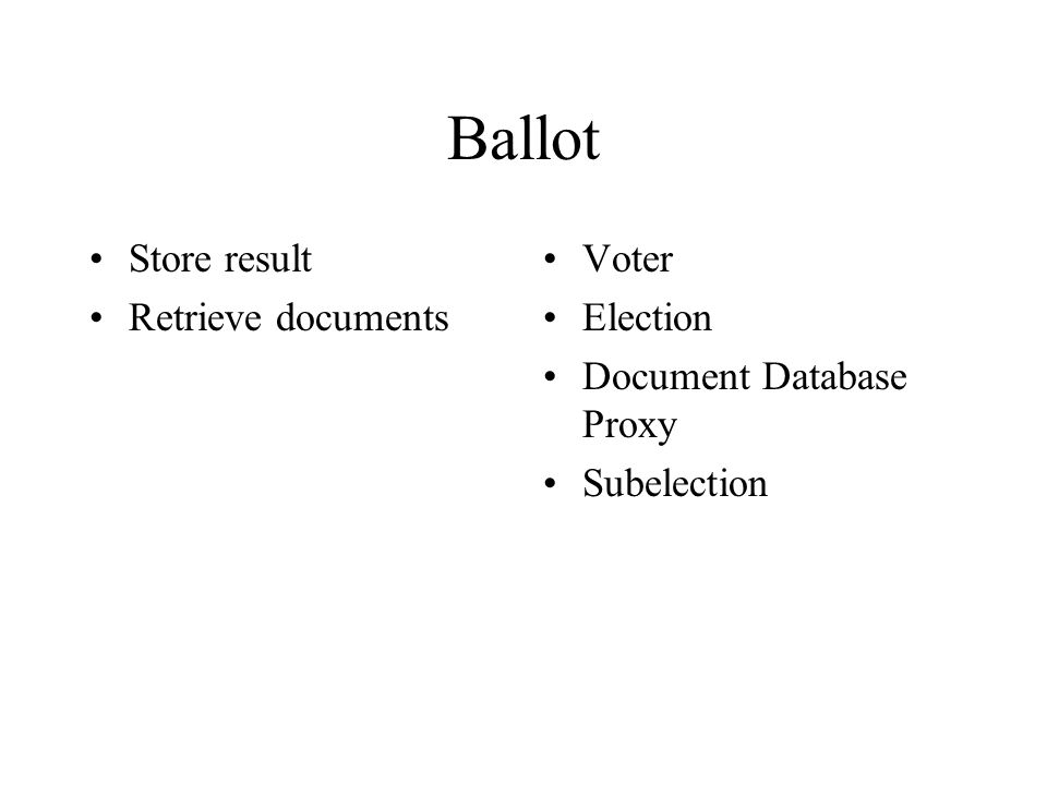 Ballot Store result Retrieve documents Voter Election Document Database Proxy Subelection