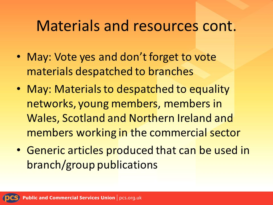 Materials and resources cont.