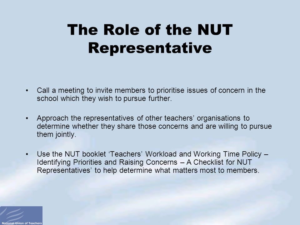 The Role of the NUT Representative Call a meeting to invite members to prioritise issues of concern in the school which they wish to pursue further.
