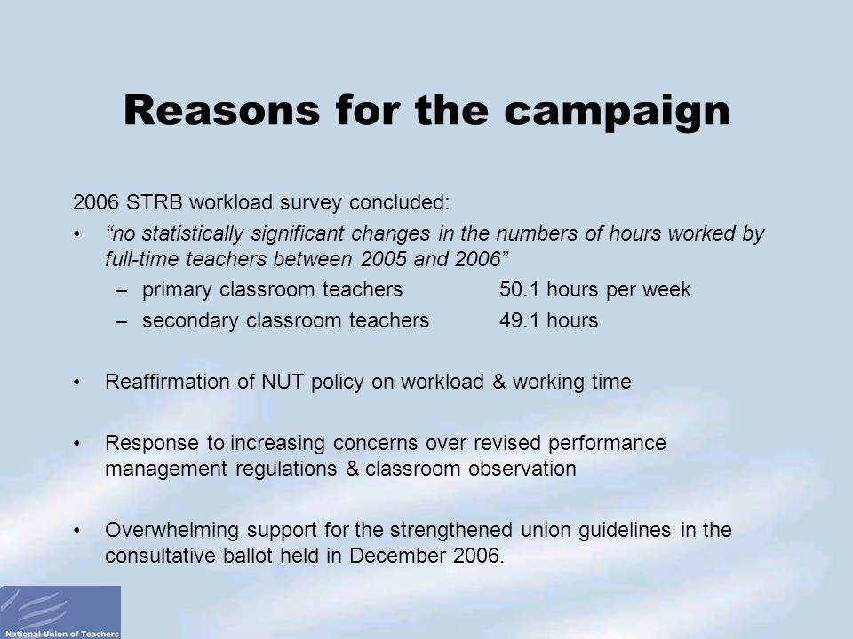 2006 STRB workload survey concluded: no statistically significant changes in the numbers of hours worked by full-time teachers between 2005 and 2006 –primary classroom teachers 50.1 hours per week –secondary classroom teachers 49.1 hours Reaffirmation of NUT policy on workload & working time Response to increasing concerns over revised performance management regulations & classroom observation Overwhelming support for the strengthened union guidelines in the consultative ballot held in December 2006.