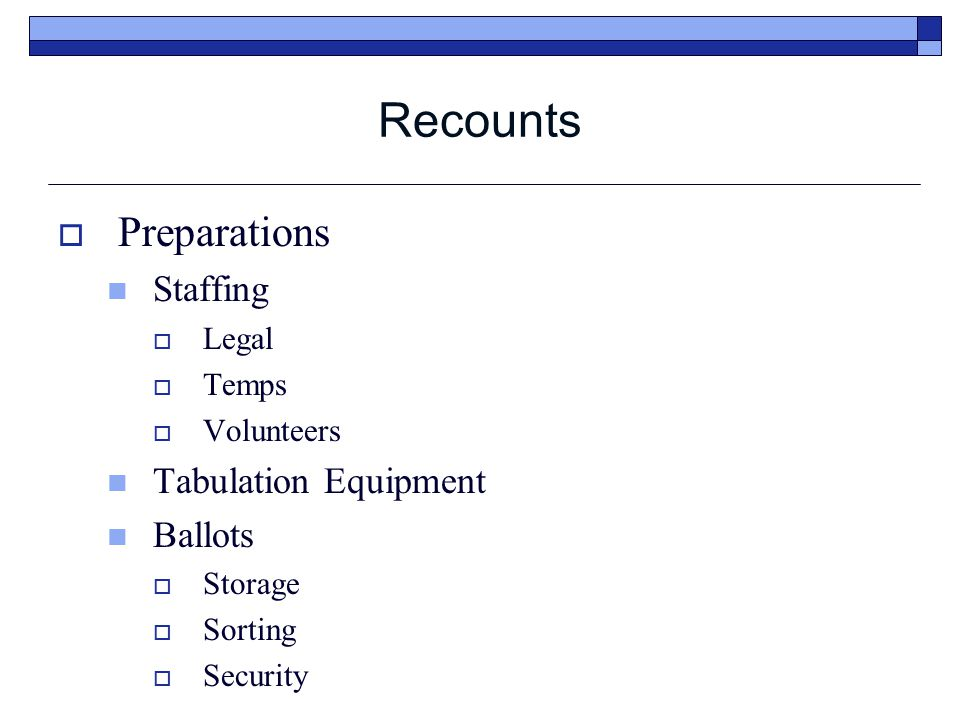 Recounts  Manual Recount (Cont.) Optical Scan Ballot Manual Recounts  The counting team shall: Count and record the number of votes for each candidate or issue choice.