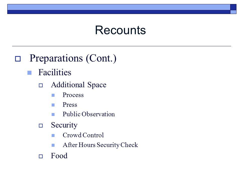 Recounts  Recount What triggers a recount.