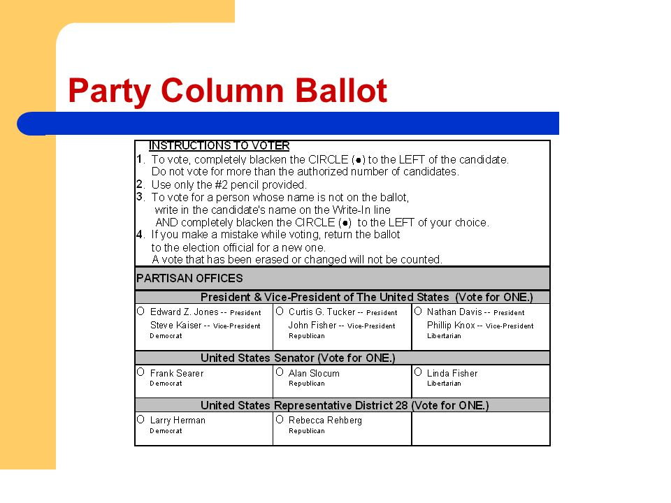 Party Column Ballot