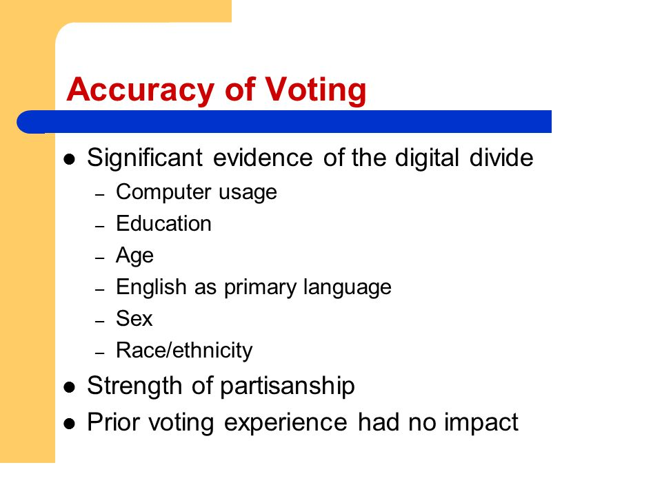 Accuracy of Voting Significant evidence of the digital divide – Computer usage – Education – Age – English as primary language – Sex – Race/ethnicity