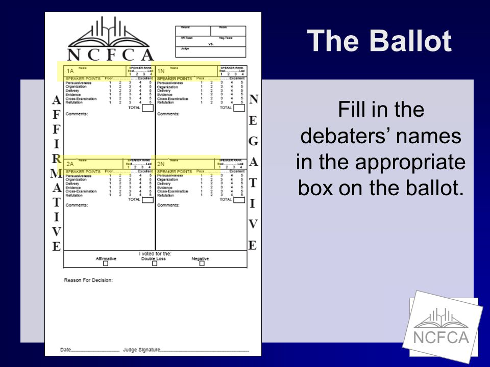 NCFCA The Ballot Fill in the debaters' names in the appropriate box on the ballot.