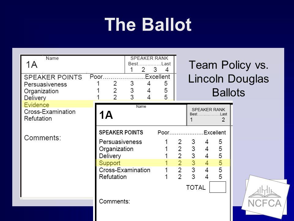 NCFCA The Ballot Team Policy vs. Lincoln Douglas Ballots