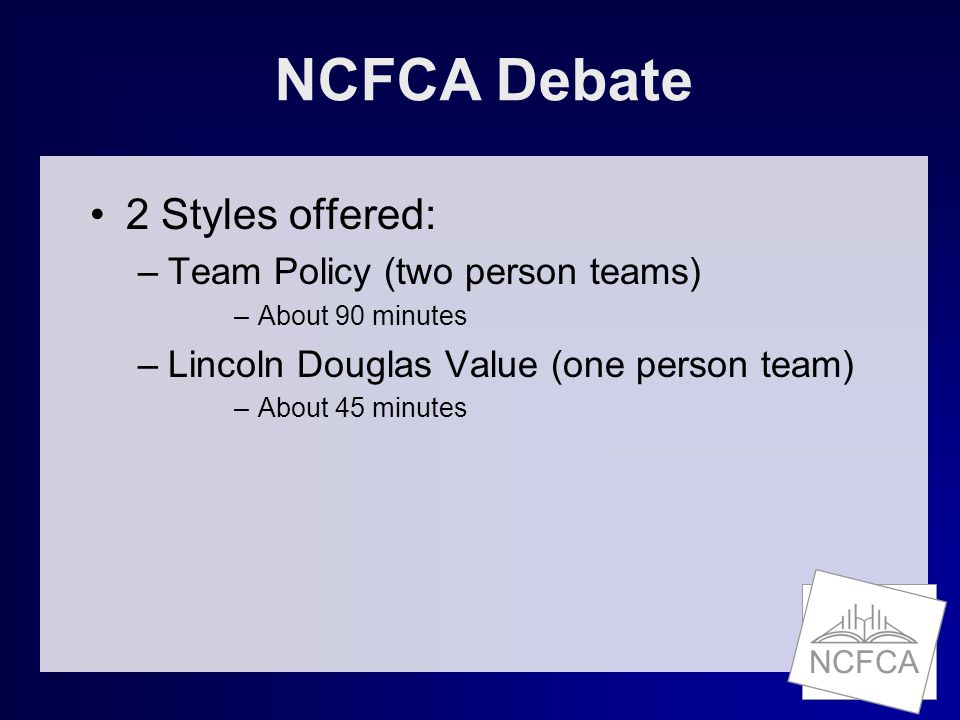 NCFCA The Ballot Team Policy vs. Lincoln Douglas Ballots