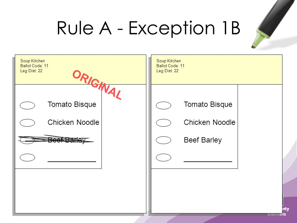 Rule A - Exception 1B Tomato Bisque Chicken Noodle Beef Barley ____________ ORIGINAL Tomato Bisque Chicken Noodle Beef Barley ____________ Soup Kitche