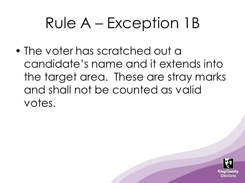 Rule A – Exception 1B The voter has scratched out a candidate's name and it extends into the target area. These are stray marks and shall not be count