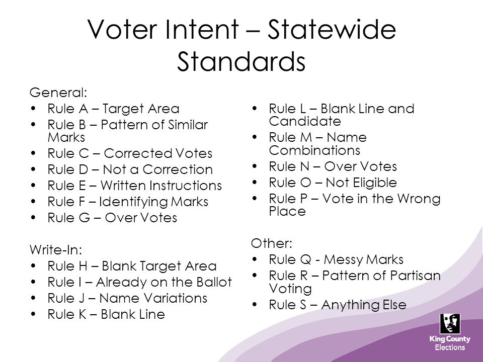 Voter Intent – Statewide Standards General: Rule A – Target Area Rule B – Pattern of Similar Marks Rule C – Corrected Votes Rule D – Not a Correction Rule E – Written Instructions Rule F – Identifying Marks Rule G – Over Votes Write-In: Rule H – Blank Target Area Rule I – Already on the Ballot Rule J – Name Variations Rule K – Blank Line Rule L – Blank Line and Candidate Rule M – Name Combinations Rule N – Over Votes Rule O – Not Eligible Rule P – Vote in the Wrong Place Other: Rule Q - Messy Marks Rule R – Pattern of Partisan Voting Rule S – Anything Else