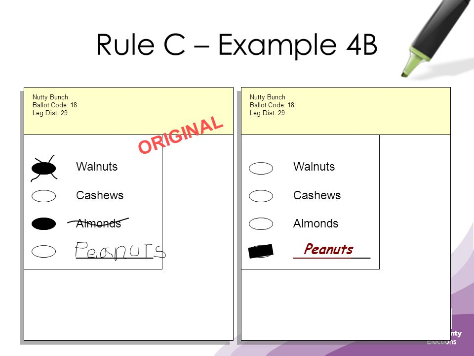 Rule C – Example 4B Walnuts Cashews Almonds ____________ ORIGINAL Walnuts Cashews Almonds ____________ Nutty Bunch Ballot Code: 18 Leg Dist: 29 Nutty Bunch Ballot Code: 18 Leg Dist: 29 Peanuts