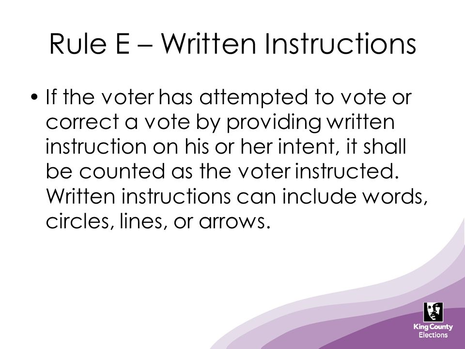 Rule E – Written Instructions If the voter has attempted to vote or correct a vote by providing written instruction on his or her intent, it shall be counted as the voter instructed.