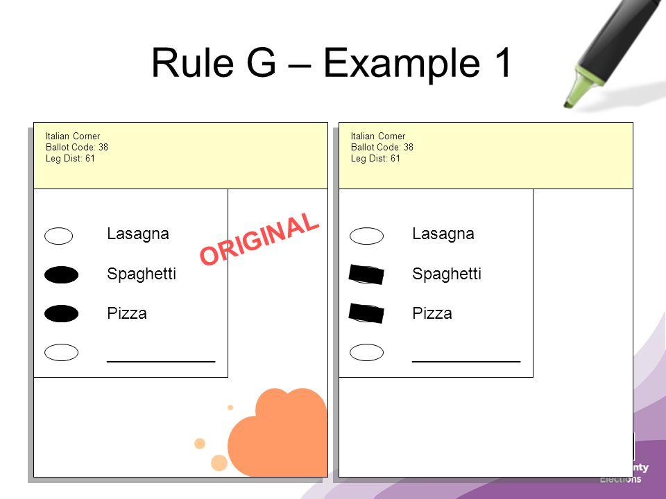 Lasagna Spaghetti Pizza ____________ Italian Corner Ballot Code: 38 Leg Dist: 61 Rule G – Example 1 Lasagna Spaghetti Pizza ____________ ORIGINAL Italian Corner Ballot Code: 38 Leg Dist: 61