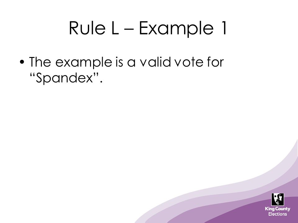 Rule L – Example 1 The example is a valid vote for Spandex .